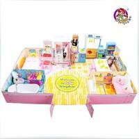 全店满99包邮!乐吉儿H23A温馨家居芭比娃娃甜甜屋2014正品玩具可儿洋套装大礼盒