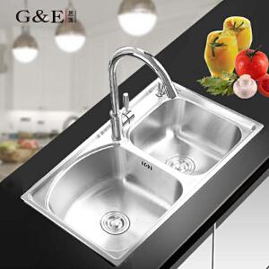 居逸SUS304不锈钢水槽套装双槽一体拉伸厨房洗菜盆 厨盆GE3002803