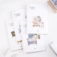 得力A5清新好看缝线记事本60页笔记本 文具学生日记本作业本