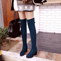 彼艾2016秋冬新款韩版瘦腿弹力靴防水台粗跟高跟过膝长靴磨砂女鞋女靴子