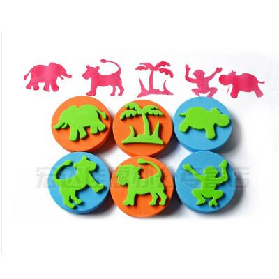 儿童美术手工创意 画画 海绵印章 丛林动物手掌印章 一套6个