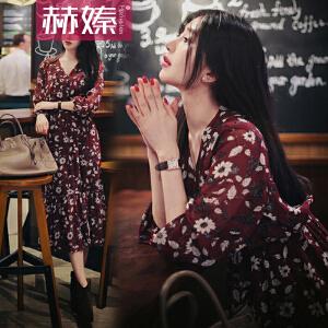 【满200减100】【赫��】2017夏季新款韩版显瘦大码长袖裙子打底长裙碎花夏装连衣裙H6643