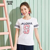 森马短袖T恤女2017夏装新款半袖体恤圆领韩版条纹印花上衣学生潮