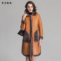 冬季新款羊剪绒皮草外套时尚方领两面穿皮毛一体女装