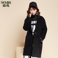 森马毛呢外套 冬装 女士韩版纯色宽松中长款落肩呢子大衣