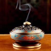 彩檀香炉仿古盘香景泰蓝莲花熏香炉佛教佛堂用品