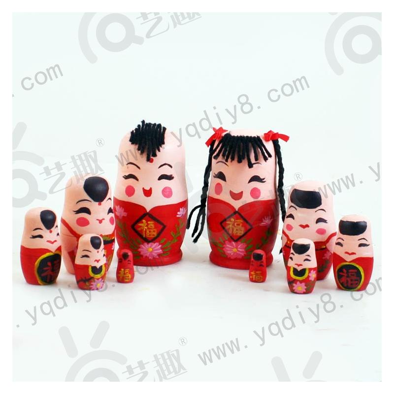 幼儿园手工材料手工diy儿童手工制作-diy白坯新春福娃套娃5个装