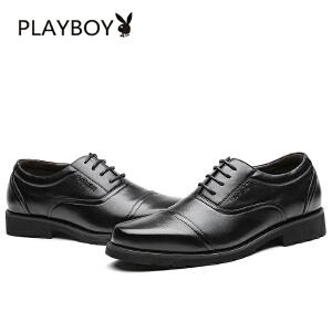 花花公子男鞋夏季新款男士商务正装皮鞋真皮尖头英伦系带软底鞋子 拓-F002168655