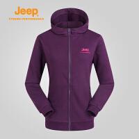 【618狂欢购】Jeep/吉普 女士户外保暖运动卫衣开衫外套单穿J668011355