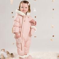davebella戴维贝拉 女包宝秋冬新款加厚连身衣 婴儿保暖连体衣