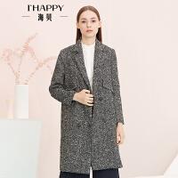 【9.6上新】海贝年春季新款女 翻领双排扣中长款粗毛呢大衣