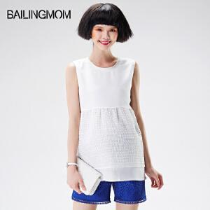 孕妇装夏装新款白色宽松大码孕妇夏季上衣欧根纱无袖短款孕妇t恤16B70
