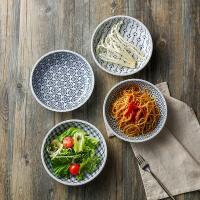 奇居良品 日式和风厨房餐具 青花纹7寸陶瓷浅口菜碗菜盘餐盘餐碟