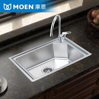 MOEN摩恩304不锈钢水槽单槽厨房水槽套餐加厚洗碗水洗菜盆22173