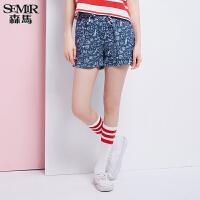 森马休闲裤 夏装 女士高腰A型系带印花休闲短裤热裤韩版