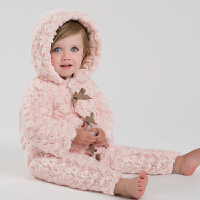 davebella戴维贝拉 女童秋冬新款加厚连体衣 婴儿连身衣长爬服