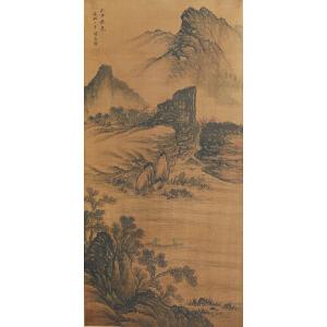 1583赵孟�\《秋山荡舟图》石涛、启功提签拔、赵孟�\自提签、并有多位名家收藏章