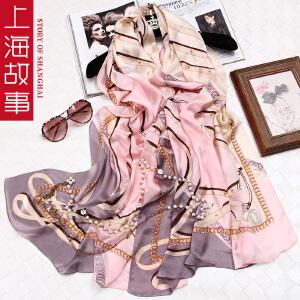 上海故事女士真丝丝巾春秋围巾桑蚕丝百搭长款披肩纱巾沙滩巾