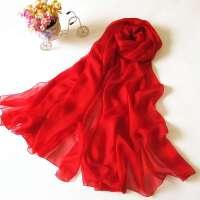 薇秋春秋女士百搭红色围巾 秋冬长款披肩 中国红长款真丝围巾 大红色丝巾