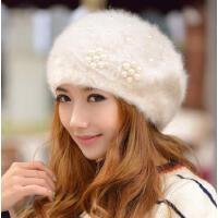 女韩版潮可爱毛线帽珍珠花朵兔毛帽子 女士冬天贝雷帽秋冬季帽子