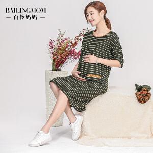 孕妇装春装休闲条纹长款孕妇连衣裙S17012