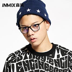 Inmix音米时尚情侣黑框眼镜男女板材眼镜框架 全框装饰近视眼睛架7058