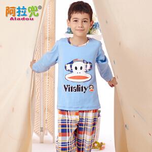 阿拉兜春季新款儿童睡衣 纯棉大童家居服 小男孩长袖格子卡通套装 3497