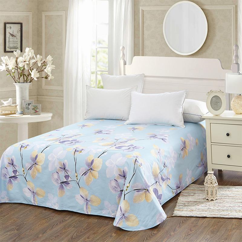 当当优品 纯棉斜纹床上用品 床单200*230cm 恬静优雅(蓝)当当自营 100%纯棉 不易褪色 环保印染 透气防潮