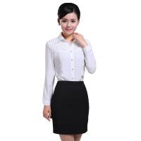 修身衬衫 女式衬衫秋冬长袖 白色棉女衬衫女性职业套装修身显瘦女装
