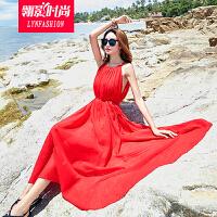 翎影时尚 2017夏装新款沙滩雪纺连衣裙大码波西米亚海边度假大裙摆吊带长裙