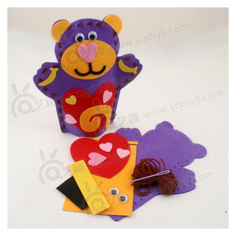 儿童幼儿礼物幼儿园手工材料手工diy儿童手工--不织布手偶小熊