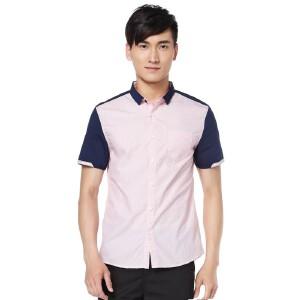 森马短袖衬衫 夏装 男士方领拼接直筒男装衬衣韩版潮学生