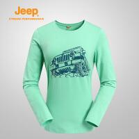 Jeep/吉普 女士秋季户外舒适透气长袖T恤运动休闲圆领卫衣J666010944