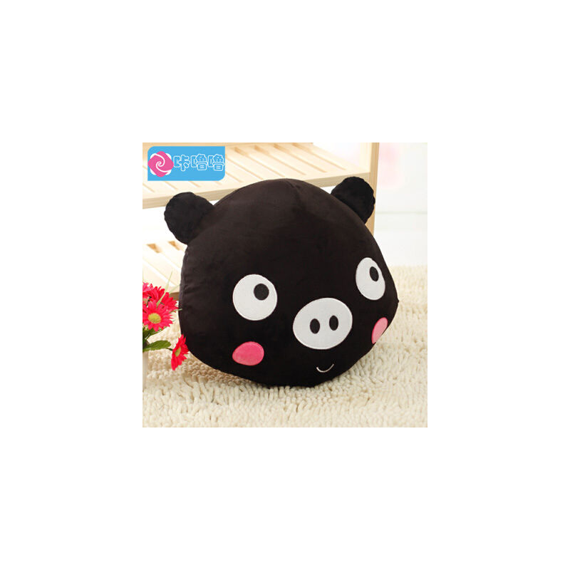 咔噜噜 黑白猪抱枕 靠垫 猪头毛绒玩具 情侣猪布娃娃 创意生日礼物