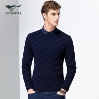 七匹狼羊毛衫 青年男士保暖毛衫 时尚圆领条纹毛衣