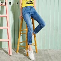 森马牛仔裤 2017夏季新款 女士韩版学生破洞磨毛修身小脚长裤裤子
