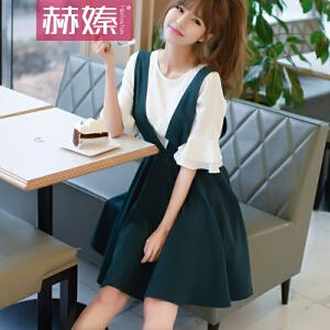 【满200减100】【hersheson赫��】2017夏夏新款女装韩国V领背带连衣裙修身显瘦两件套H6665