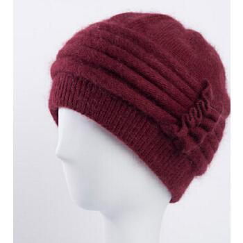 冬兔毛帽毛线帽妈妈帽 针织帽子中老年帽子女冬天老人帽子