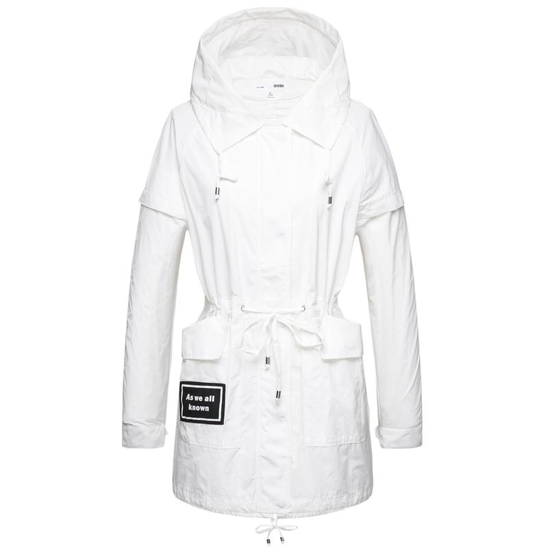 森马风衣女2017秋季新款女装宽松中长款白色外套拉链系带连帽大衣图片