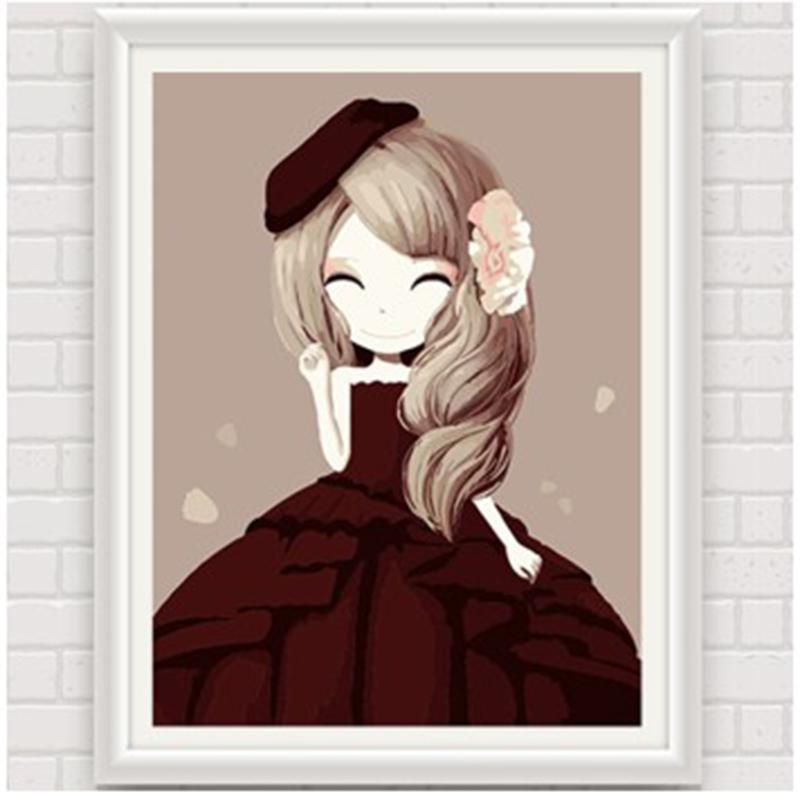 数字油画 动漫卡通人物少女手绘装饰画 儿童可爱卧室 花花姑娘_木槿