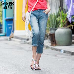 森马牛仔裤 夏装 女士中低腰直筒八分裤水洗牛仔裤韩版潮