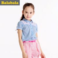 巴拉巴拉夏装女童衬衫短袖中大童上衣童装儿童学生衬衣女