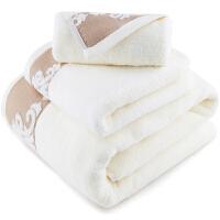 [当当自营]三利 纯棉缎档图腾纹样 方巾毛巾浴巾三件套 礼盒装 米色
