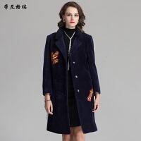 新款女装抗寒保暖冬季简约中长款翻领羊剪绒皮草外套大衣