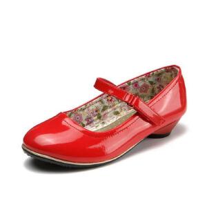 鞋柜女童2016春季简约防水纯色亮皮低跟单鞋