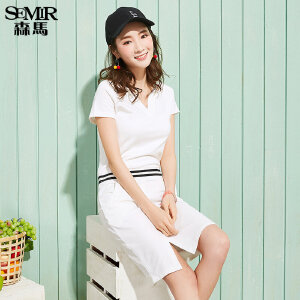 森马连衣裙 2017夏装新款 女V领显瘦开叉下摆韩版裙子直筒短袖裙