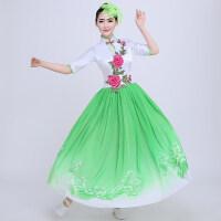 中国风青花瓷大合唱服民乐古筝 二胡古典演出服伴舞长裙新款女