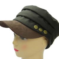 平顶海军帽毛呢帽子女铆钉皮帽子保暖平顶帽太阳帽女小辣椒帽速干户外配饰
