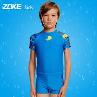 洲克儿童防晒分体泳衣男童阳光帅气卡通套装泳裤中大童速干游泳衣