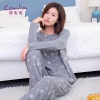【便服】康妮雅春秋女士睡衣套装简约休闲外穿长袖家居服